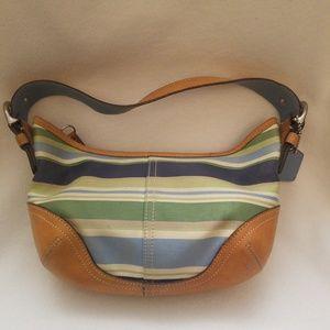 Coach Multicolor Stripes Hobo Handbag 9514 Leather